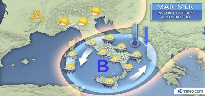 LIVE: FRONTE FREDDO attraversa l Italia: rovesci, temporali, neve e forte vento