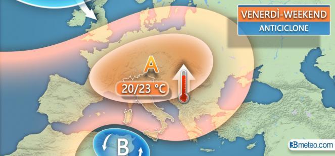 VASTO ANTICICLONE: clima più CALDO e SECCO salvo ultimi rovesci sulle Isole